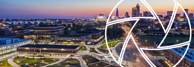 Cleveland Tri-C Campus and City Skyline Drone Image